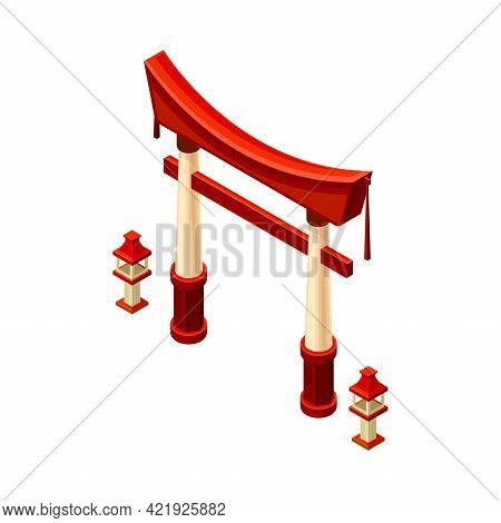 Red Gate As Symbolic Entrance At Shinto Shrine And Asian Architecture Isometric Vector Illustration