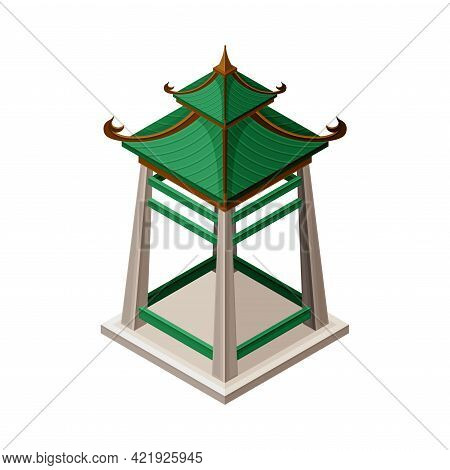 Wooden Turret-shaped Gazebo In Oriental Style As Asian Architecture Isometric Vector Illustration