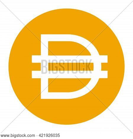 Dai Token Symbol Cryptocurrency Logo, Coin Icon Isolated On White Background. Vector Illustration.