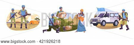 Flat Peacekeepers Composition Set With The Military Guards The Tent Camp Distributes Food To Refugee