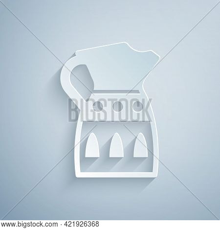 Paper Cut Sangria Pitcher Icon Isolated On Grey Background. Traditional Spanish Drink. Paper Art Sty