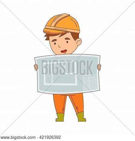 Funny Boy Builder In Hard Hat And Orange Overall Examining Draft Vector Illustration