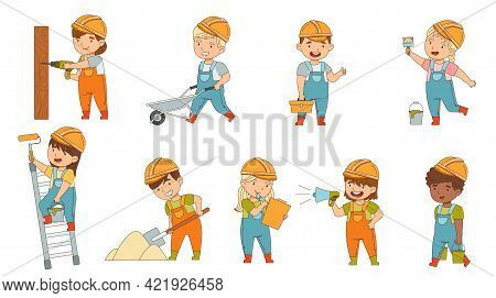 Little Builders Wearing Hard Hat And Overall Performing Work On Construction Site Vector Set