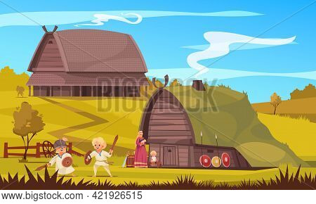 Vikings Culture Settlement Family Life Traditions Kids Playing Outdoor Fighting With Toy Weapon Cart