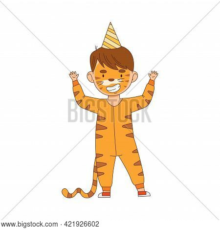 Cheerful Boy In Masquerade Costume Of Tiger And With Face Painting Engaged In Festive Celebration Ve