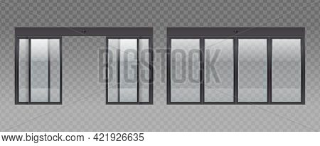 Glass Door Entrance Realistic Set With Transparent Background And Images Of Glass Doors With Opened