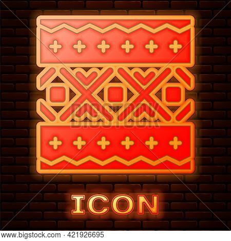 Glowing Neon Ukrainian Ethnic Pattern For Embroidery Icon Isolated On Brick Wall Background. Traditi