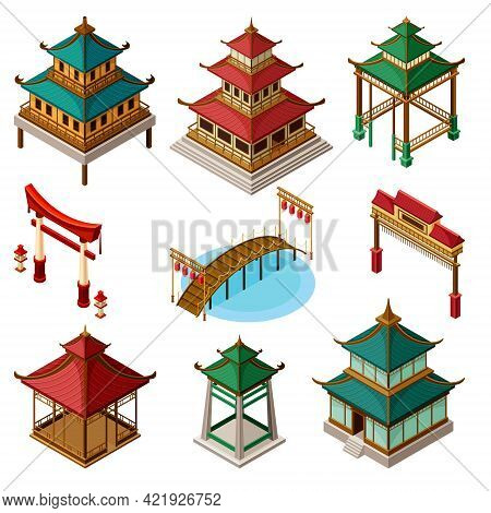 Asian Architecture With Pagoda, Gates And Bridges Isometric Vector Set