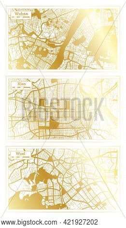 Xian, Wuxi and Wuhan China City Map Set in Retro Style in Golden Color. Outline Map.