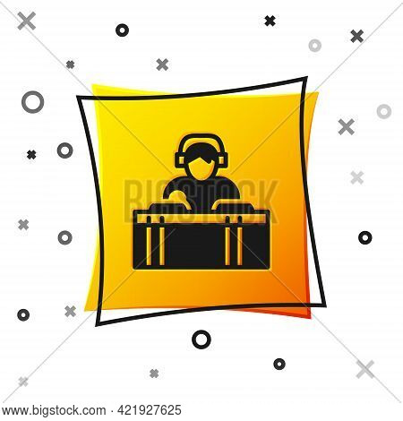 Black Dj Wearing Headphones In Front Of Record Decks Icon Isolated On White Background. Dj Playing M