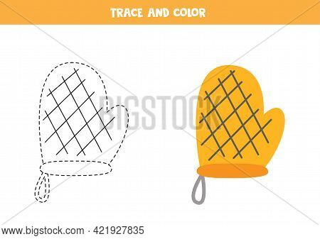 Trace And Color Baking Glove. Educational Game For Kids. Writing And Coloring Practice.