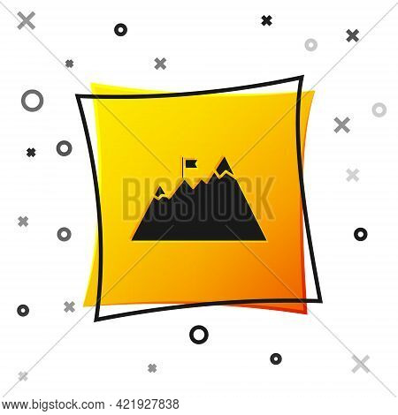Black Mountains With Flag On Top Icon Isolated On White Background. Symbol Of Victory Or Success Con