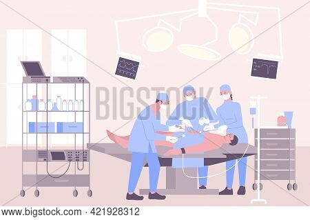 Operation In Hospital Flat Composition With Surgery Room Scenery And Group Of Surgeons Performing Su