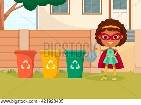 Cartoon Colored Kids Superheroes Composition With Superhero Girl Throws Trash In The Recycling Bin V