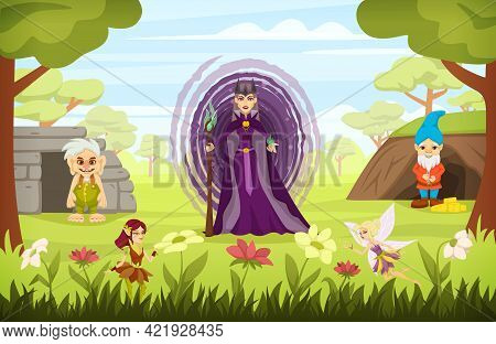 Fairy Tale Characters Cartoon Colored Composition With The Evil Sorceress Is Standing With Dwarves A