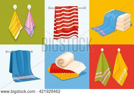 Towel Design Concept With Six Square Compositions With Stacked And Hanging Towel Images Of Different