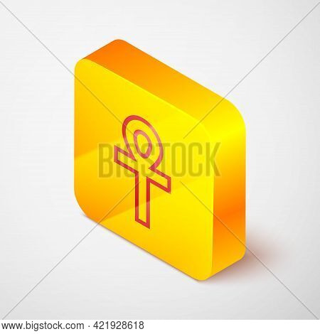 Isometric Line Cross Ankh Icon Isolated On Grey Background. Yellow Square Button. Vector Illustratio