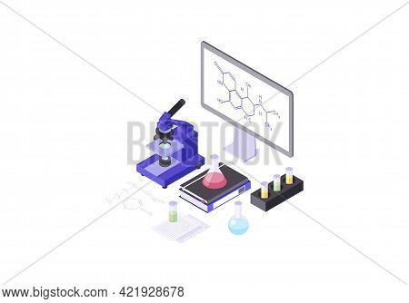 Microscope Isometric Color Vector Illustration. Chemical Laboratory Equipment Infographic. Molecular