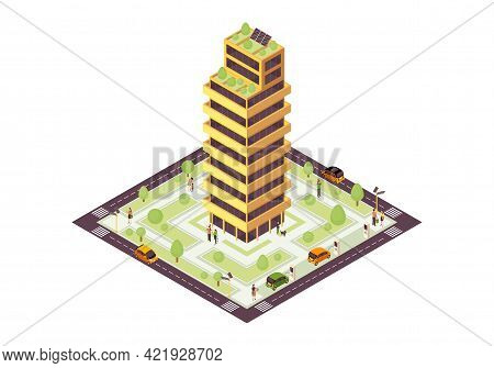 Eco City Isometric Color Vector Illustration. Sustainable Building With Solar Grid, Tree Infographic