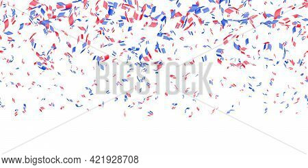 Red, Blue Glossy Confetti Flying On White Background. Flying Tinsel Sparkles, Gradient Foil Confetti