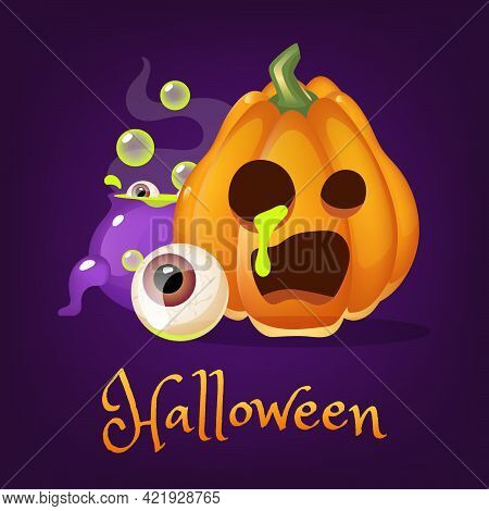 Creepy Pumpkin Cartoon Vector Illustration. Halloween Lantern With Spooky Smile, Magic Potion, Eye C