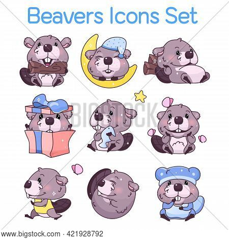Cute Beavers Kawaii Cartoon Characters Icons Set. Adorable, Happy And Funny Animal In Different Pose