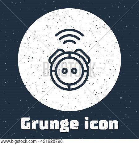 Grunge Line Robot Vacuum Cleaner Icon Isolated On Grey Background. Home Smart Appliance For Automati