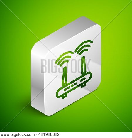 Isometric Line Router And Wi-fi Signal Icon Isolated On Green Background. Wireless Ethernet Modem Ro