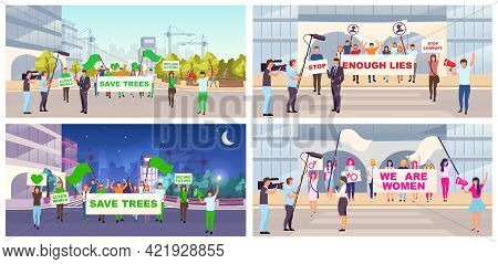 Social Protests Flat Vector Illustrations Set. Feminist Movement, Save Trees Demonstration. Proteste