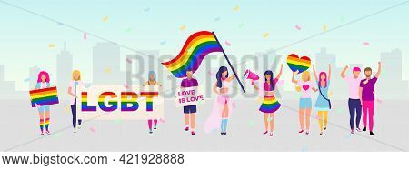 Lgbt Community Rights Protection Protest Flat Vector Illustration. Pride Parade, Festival Concept. L