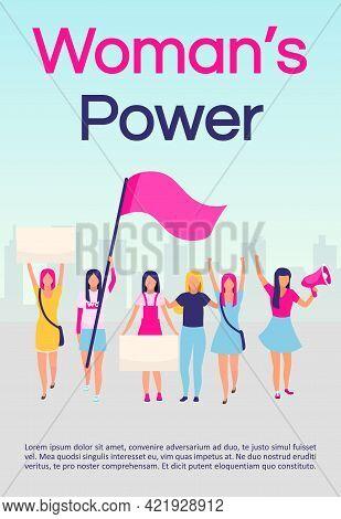 Women Power Brochure Template. Feminist Protest. Women Empowerment Movement. Flyer, Booklet, Leaflet