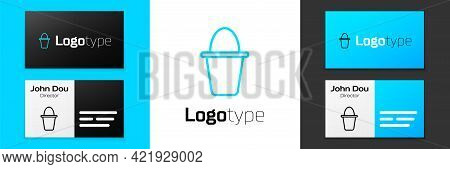 Blue Line Fishing Bucket Icon Isolated On White Background. Fish In A Bucket. Logo Design Template E