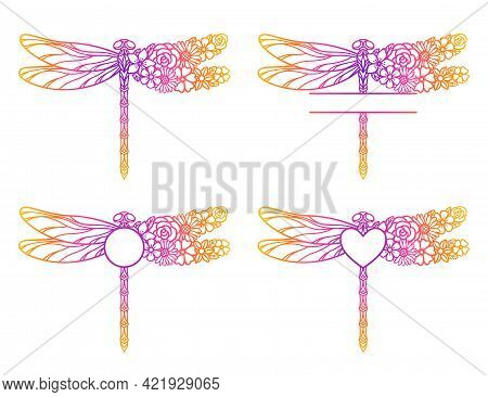 Flower Dragonfly Monogram. Decorative Insect Silhouette. Template For Laser And Paper Cutting, Print
