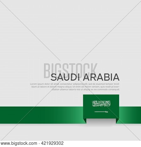 Saudi Arabia Flag Color Ribbon On A White Background. Saudi Arabia Flag Template. Business Booklet,