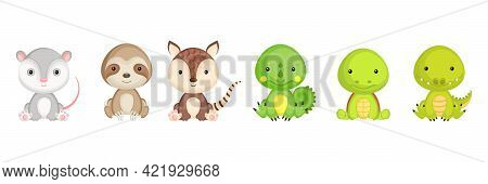 Collection Of Sitting Little Animals In Cartoon Style. Cute Exotic Animals Characters For Kids Cards