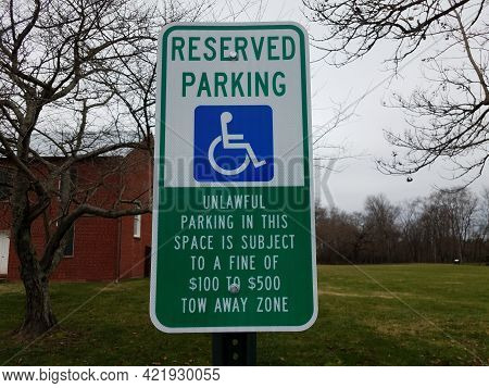 Reserved Parking Disabled Sign Unlawful Fine Warning