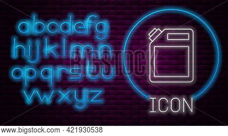 Glowing Neon Line Canister For Gasoline Icon Isolated On Brick Wall Background. Diesel Gas Icon. Neo