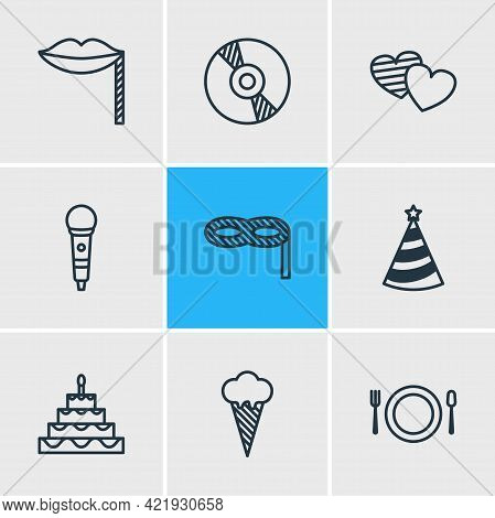 Vector Illustration Of 9 Feast Icons Line Style. Editable Set Of Cd, Birthday Cake, Masquerade And O