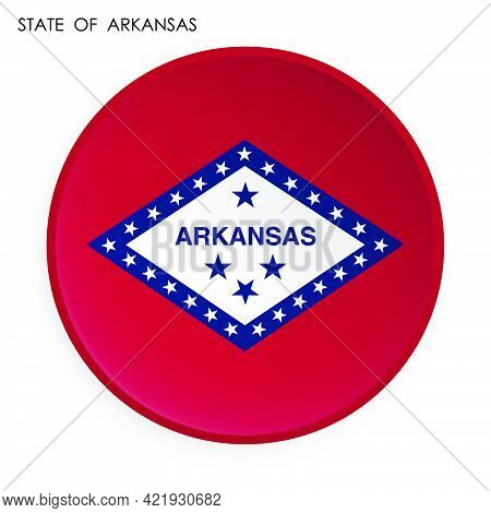 Flag Of American State Of Arkansas Icon In Modern Neomorphism Style. Button For Mobile Application O