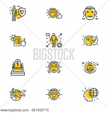 Vector Illustration Of 12 Emoji Icons Line Style. Editable Set Of Satisfied, Global Thinking, Fear A