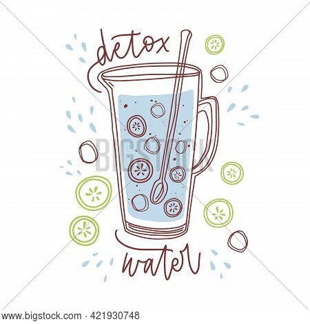 Detox Cucumber Water In Glass Jug With Spoon. Refreshing Cold Summer Drink With Vegetable And Ice. O