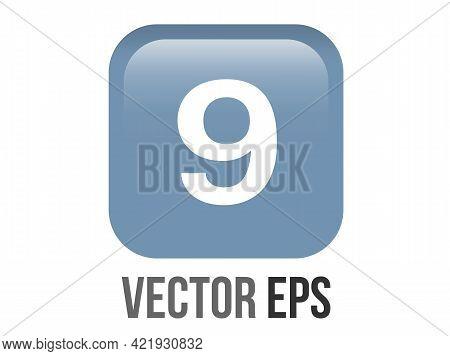 Vector Shinny Gradient Blue Keycap White Digit Nine Icon Button