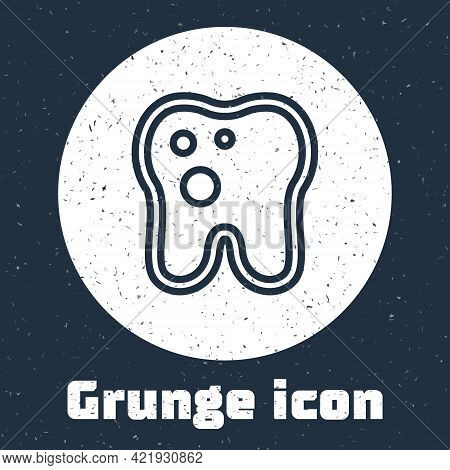 Grunge Line Tooth With Caries Icon Isolated On Grey Background. Tooth Decay. Monochrome Vintage Draw
