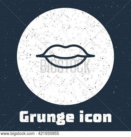 Grunge Line Smiling Lips Icon Isolated On Grey Background. Smile Symbol. Monochrome Vintage Drawing.