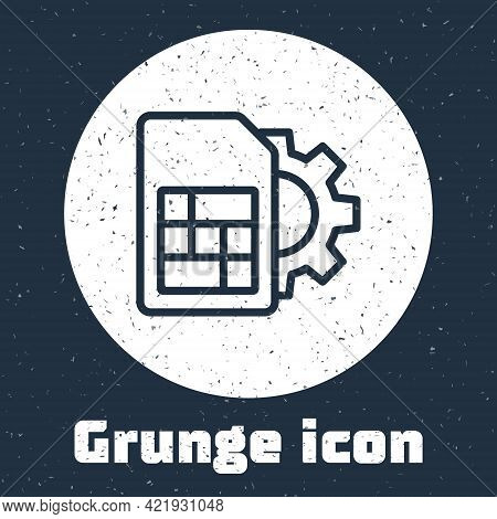 Grunge Line Sim Card Setting Icon Isolated On Grey Background. Mobile Cellular Phone Sim Card Chip.
