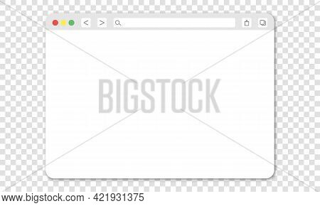 Realistic Blank Browser Window With Shadow. Design Template Isolated On Transparent Background