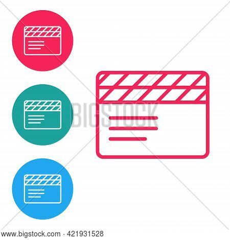 Red Line Movie Clapper Icon Isolated On White Background. Film Clapper Board. Clapperboard Sign. Cin