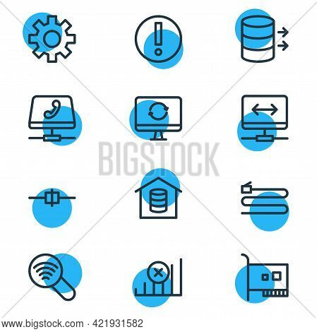 Vector Illustration Of 12 Network Icons Line Style. Editable Set Of Voip Gateway, Root Server, Scan