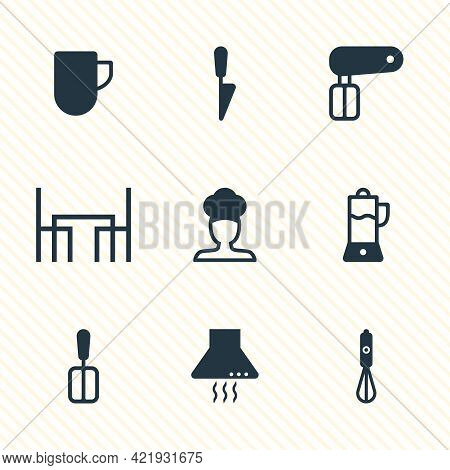 Vector Illustration Of 9 Kitchenware Icons. Editable Set Of Juicer, Chef, Dining Table And Other Ico