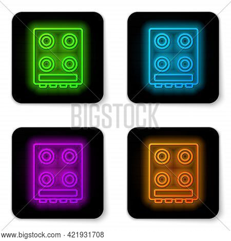 Glowing Neon Line Gas Stove Icon Isolated On White Background. Cooktop Sign. Hob With Four Circle Bu